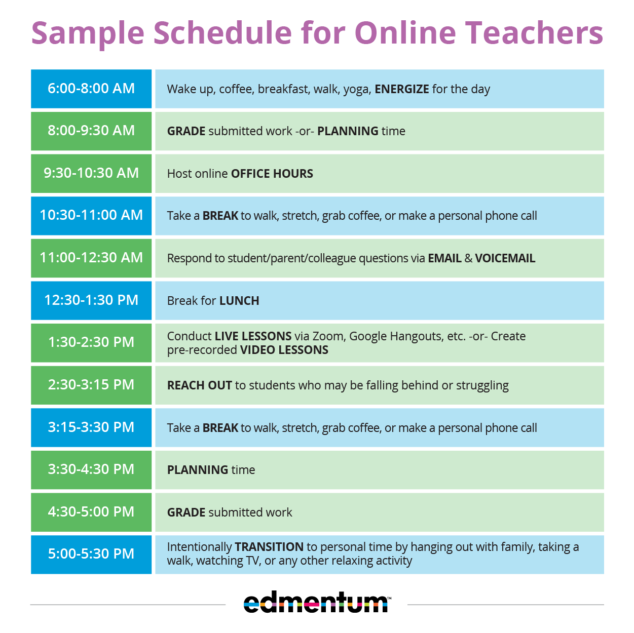 Virtual teacher Schedule Sample
