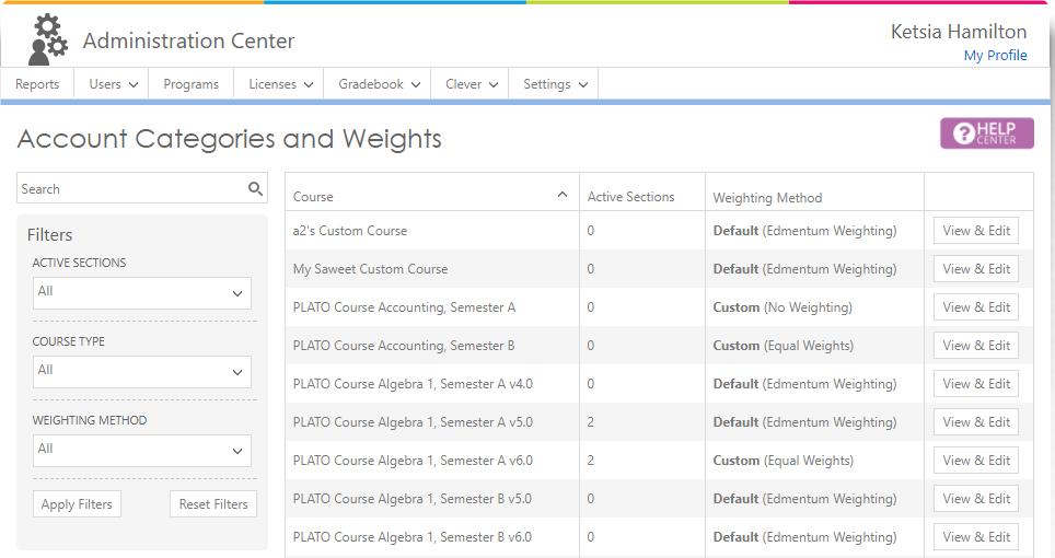 Edmentum Courseware Admin Gradebook Screenshot 1