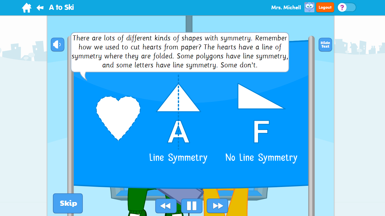EducationCity A to Ski Symmetry Activity