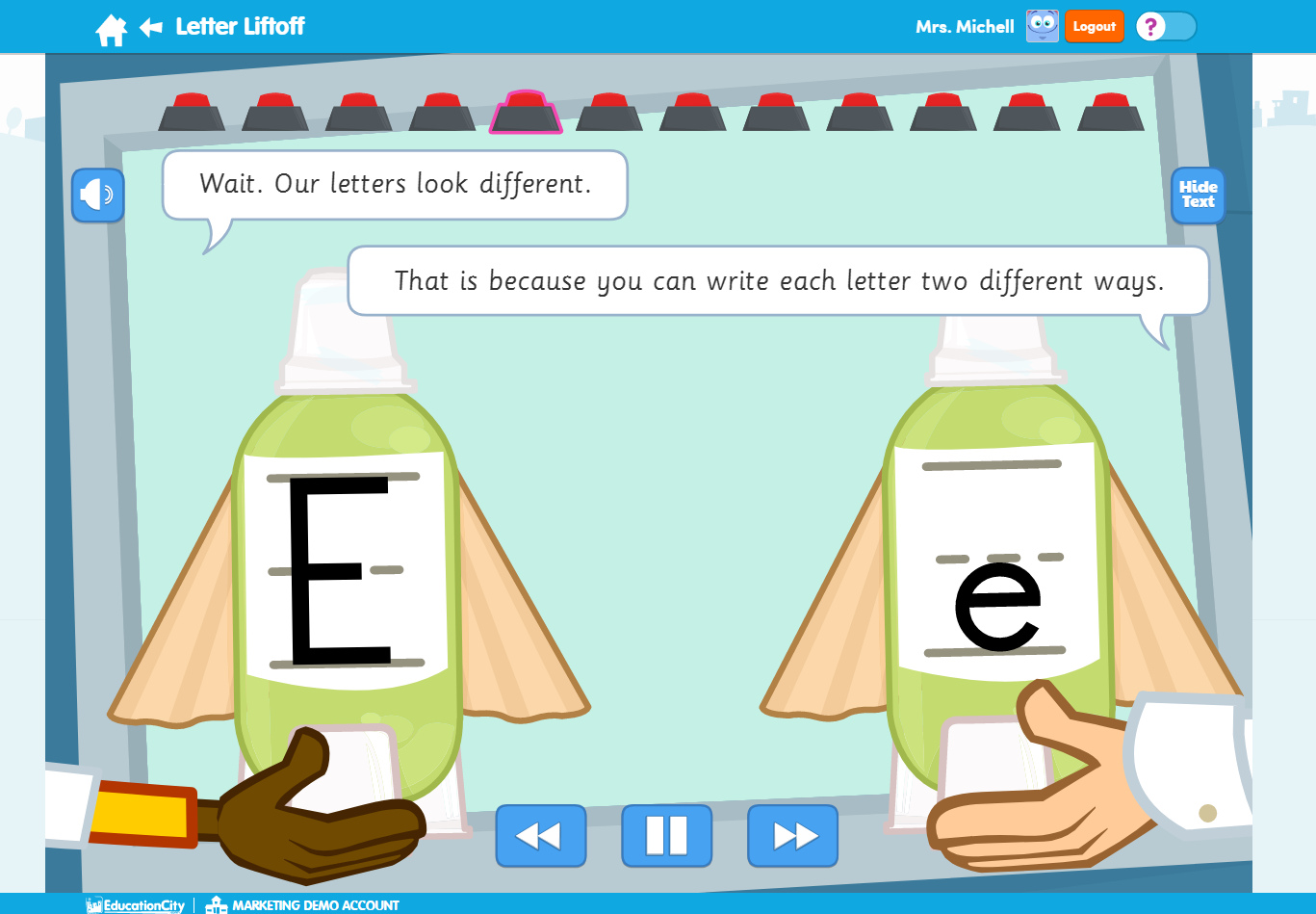 "EducationCity Learn Screens ""Letters"""