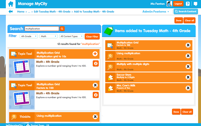 EducationCity MyCities Lesson Organization