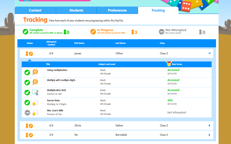 EducationCity MyCities Tracking Homework