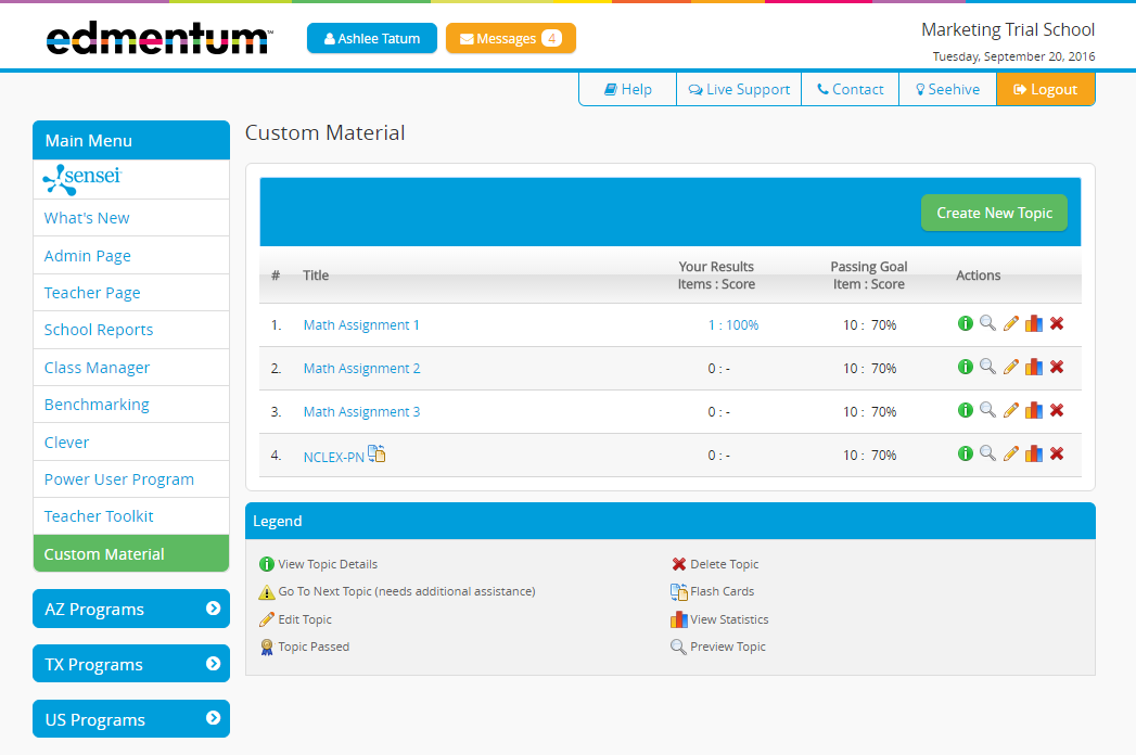 Study Island Custom Material Feature