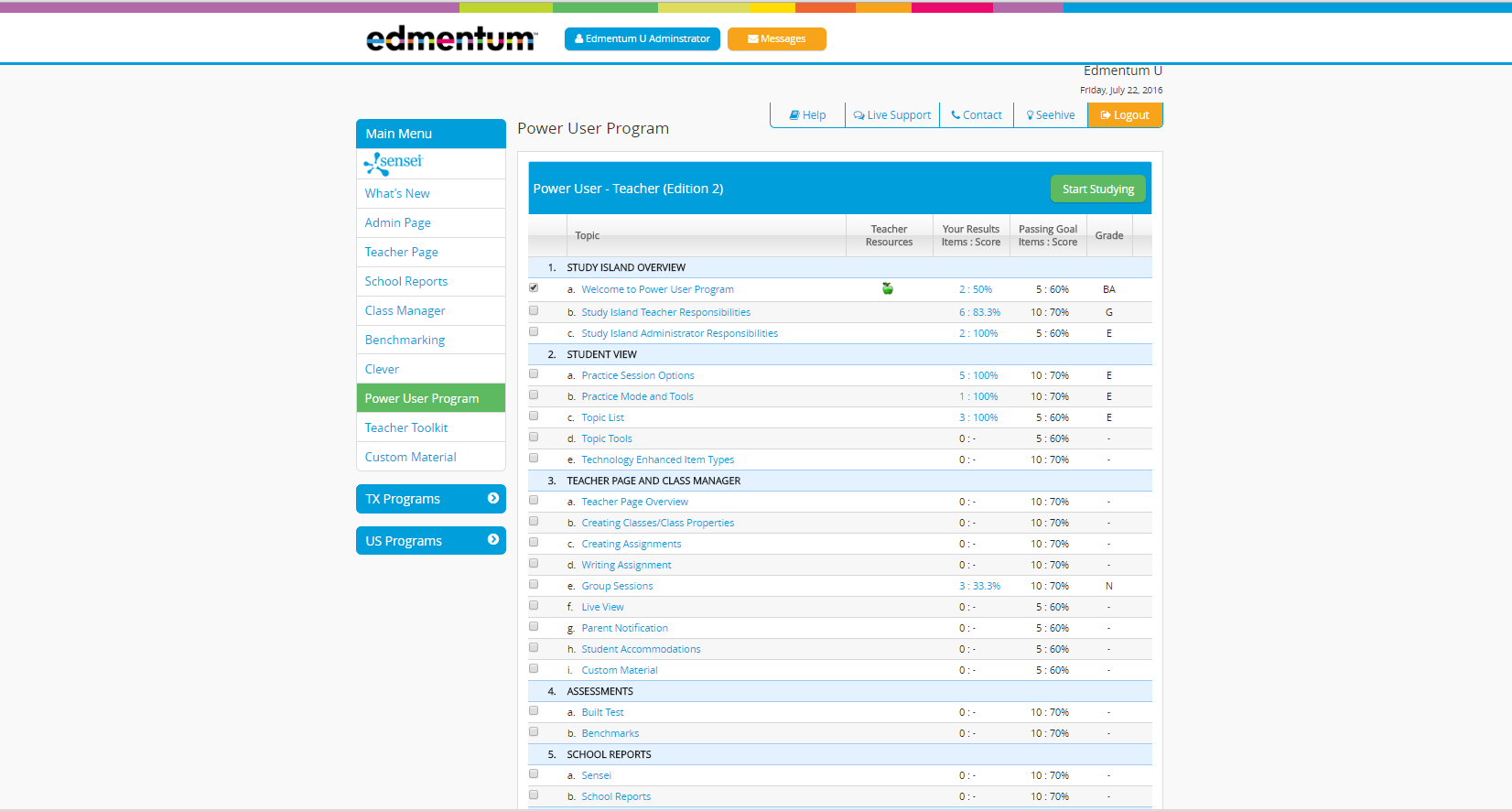 Study Island Power User Program Screenshot
