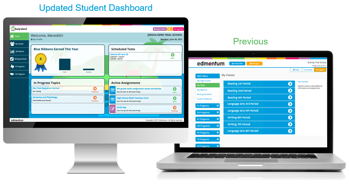 New Study Island Student Dashboard